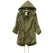 Women Winter Warm Hooded Coat Army Green Parka Trench Jacket