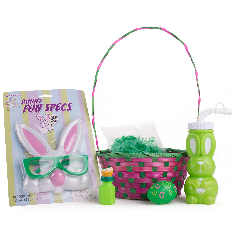 "Bunny Fun Specs & Cup Rabbit Kids Boys Girls 24pc 14"" Easter Basket Gift Set"