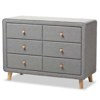 Hawthorne Collection 6 Drawer Fabric Upholstered Dresser in Gray