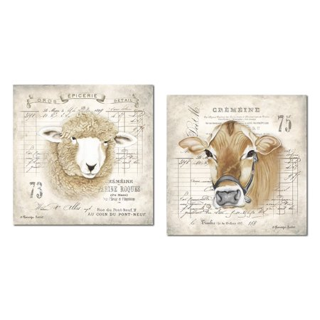 - Lovely French Farm Animals Cow and Sheep; French Country Decor; Two 12x12in Paper Posters