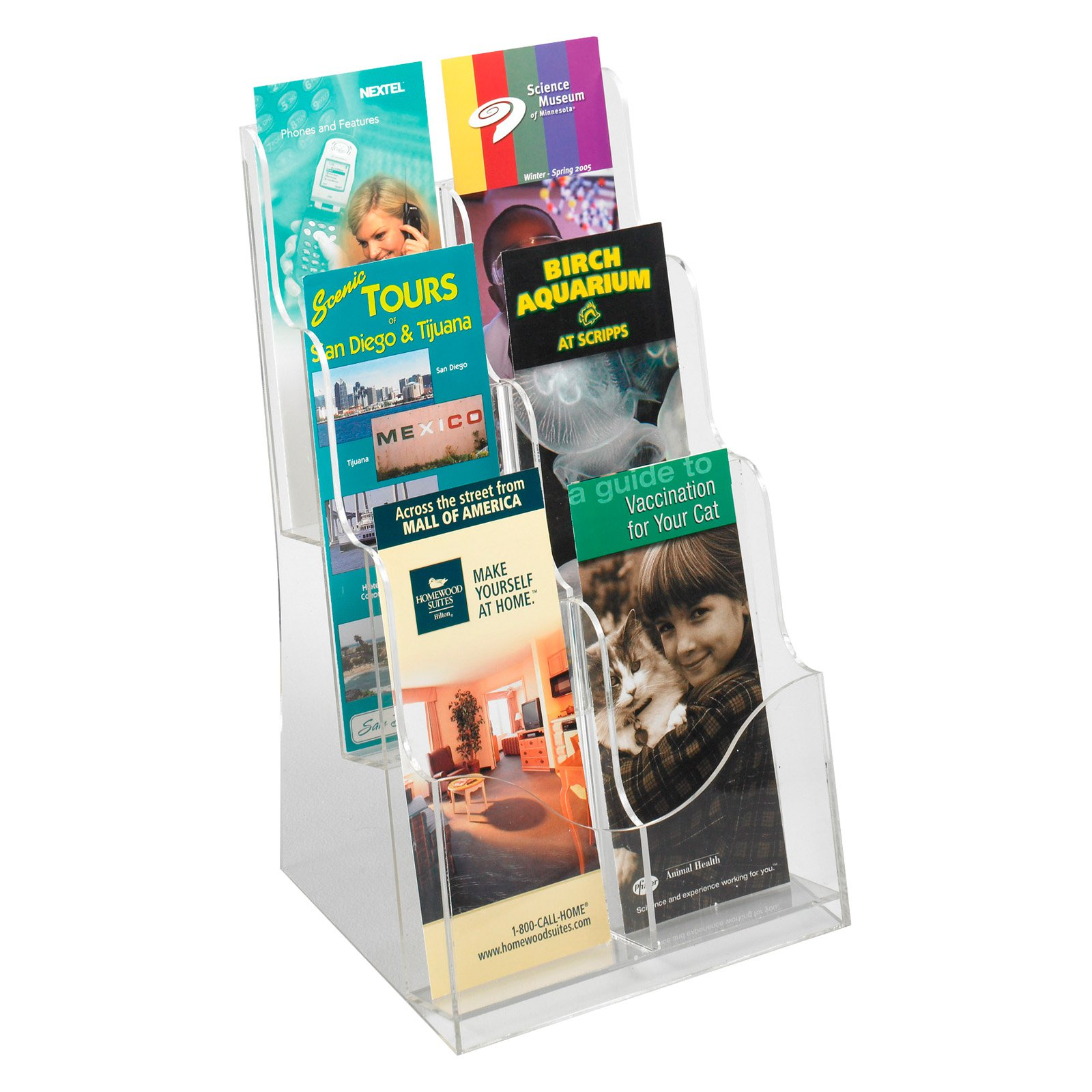 Safco 5635CL Acrylic 3 Pocket Magazine Display