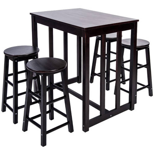Merax 5 Piece Dining Table Set High/Pub Table Set With 4 Bar Stools