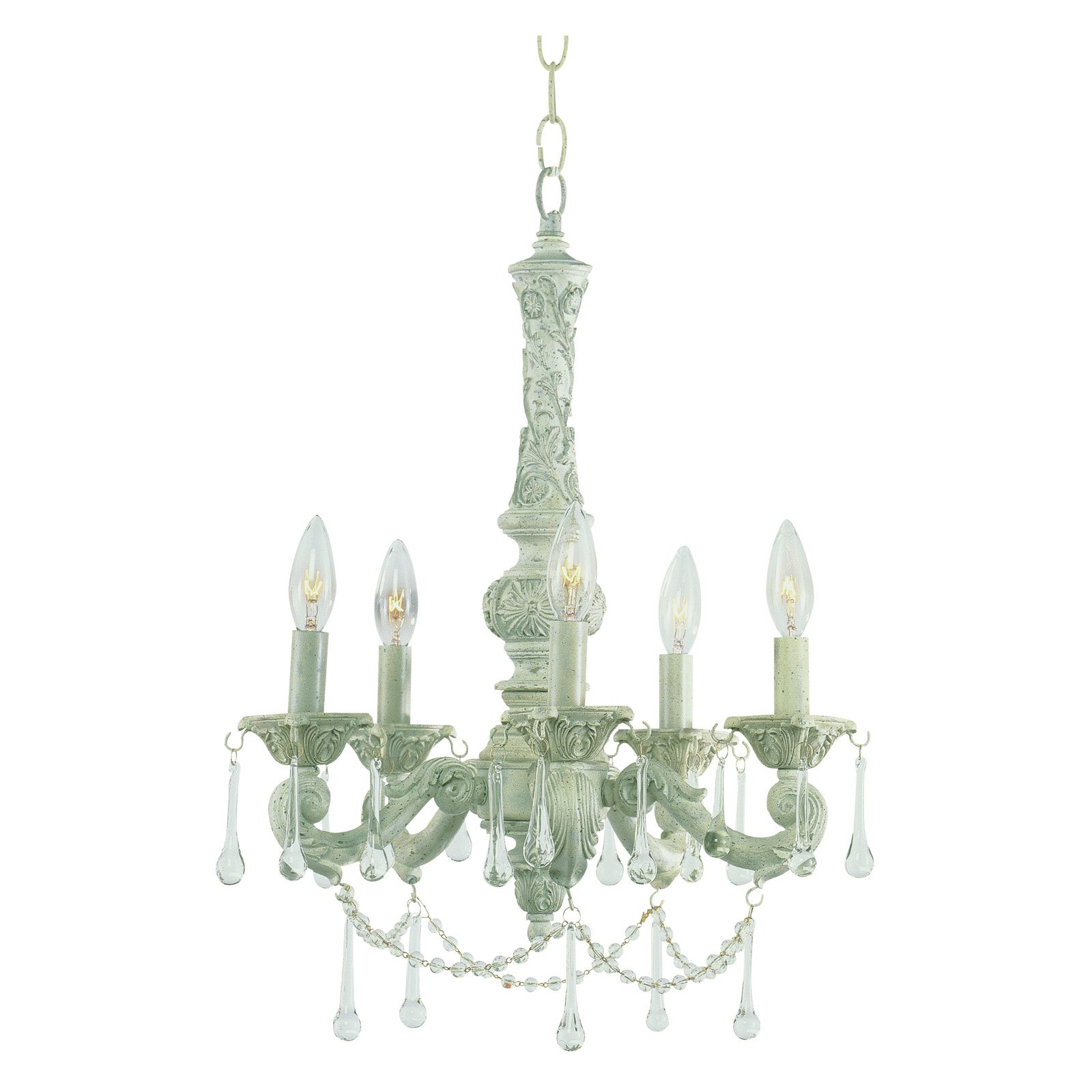 Trans Globe 12009 AW Chandelier - Antique White - 14W in.