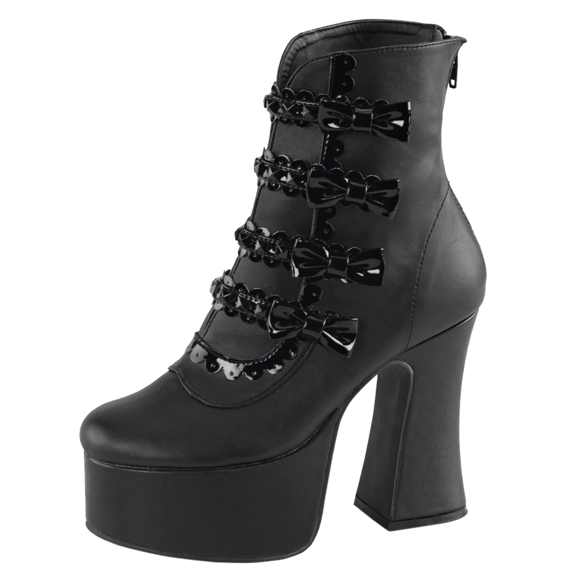 womens fashion boots black shoes chunky heel booties bows
