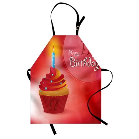 17th Birthday Apron Sweet Seventeen Party Theme with Cupcake Dessert and Candle Image, Unisex Kitchen Bib Apron with Adjustable Neck for Cooking Baking Gardening, Red and Vermilion, by Ambesonne