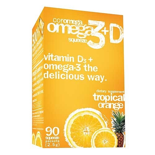 Coromega Omega 3+D Dietary Supplement Squeeze Packets, Tropical Orange Flavor, 90 Ct