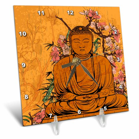 3dRose Buddha Statue With Lovely Pink Japanese Sakura Blossom Flowers Asian Inspired Gifts, Desk Clock, 6 by 6-inch