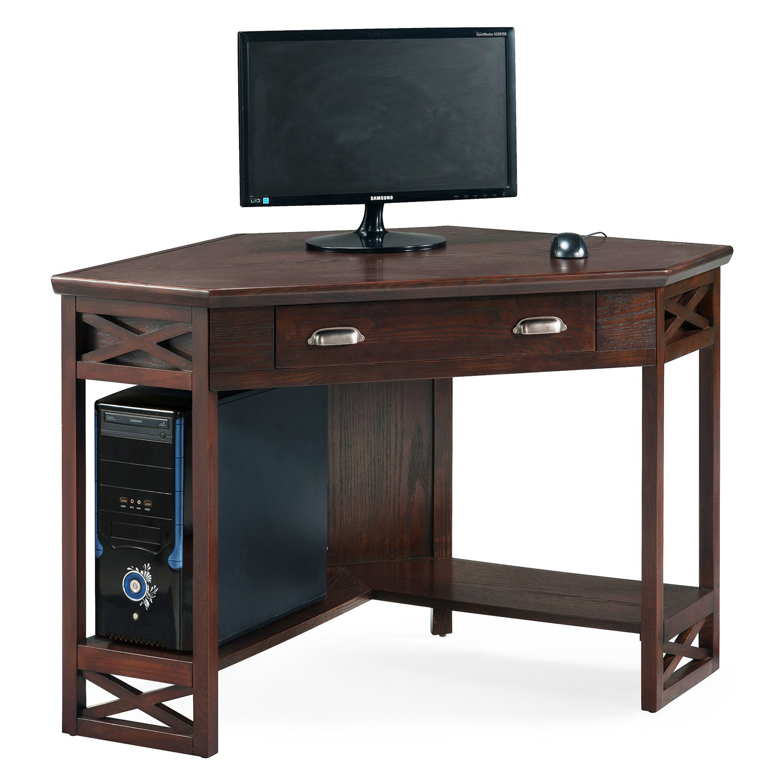 Leick 48 in. Corner Computer/Writing Desk - Chocolate Oak