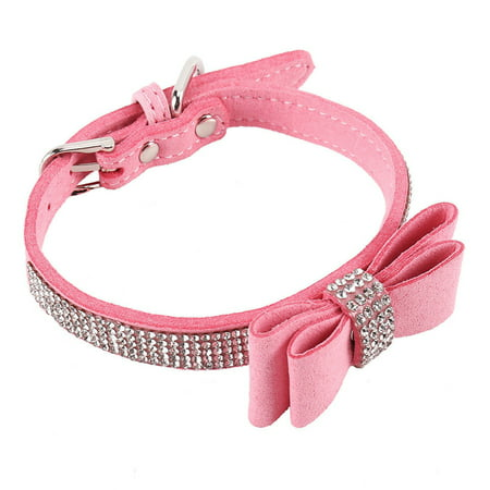Leather Rhinestone Diamante Dog Collar Soft Bow Tie Design for Cat Puppy Small -