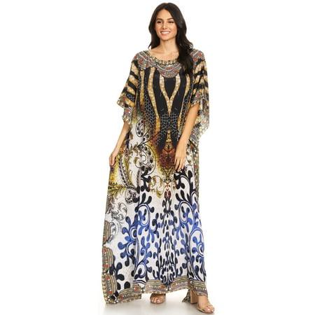 eec876cc699 Sakkas - Sakkas Jabari Women s Maxi Short Sleeve Long Beach Kaftan Dress  Boho Loose Gown - OW15-White - One Size Regular - Walmart.com