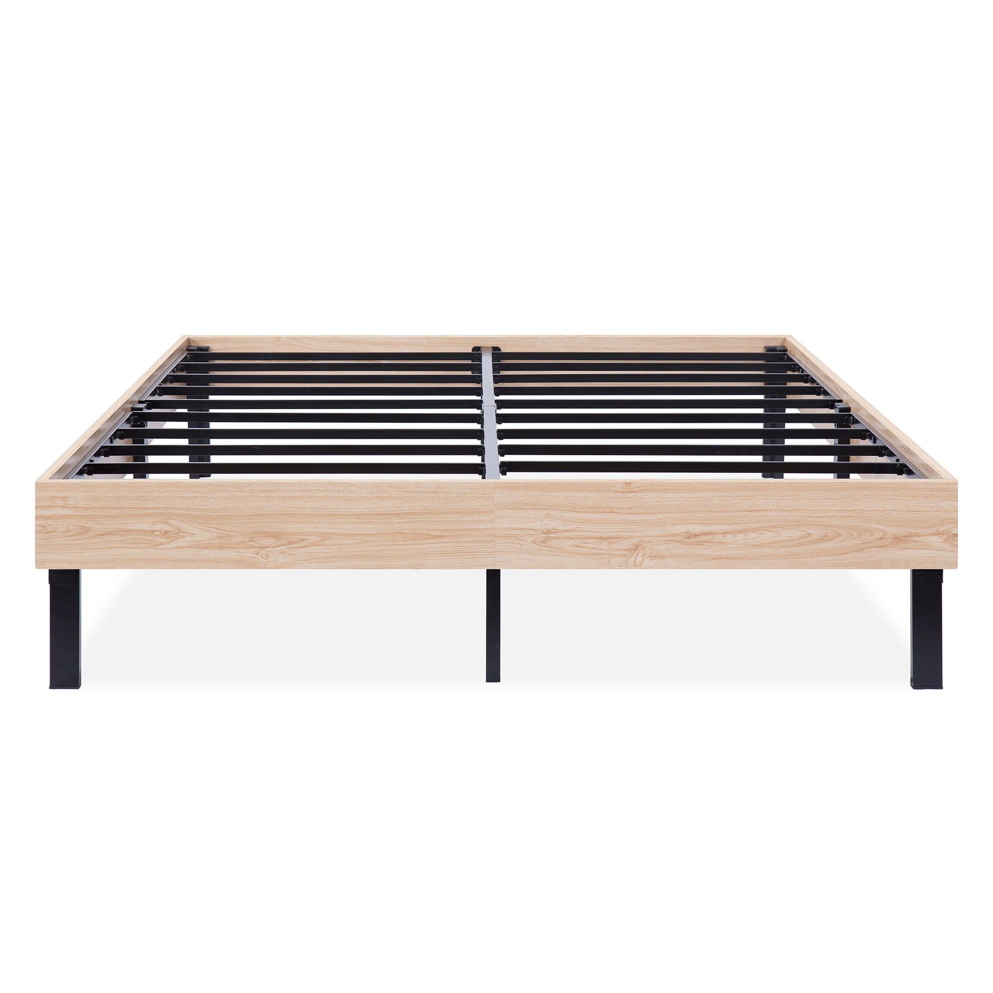 GranRest 14 Inch Classic Natural Wood Finished Platform Bed Frame   Dura Steel Slat Support, Stylish Natural by Grantec Co., Ltd