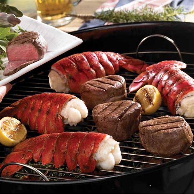 Lobster Gram M4FM6 SIX 4-5 OZ MAINE LOBSTER TAILS AND SIX 6 OZ FILET MIGNON STEAKS - Walmart.com