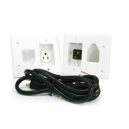 - Monoprice Recessed Pro Power Kit - White With Straight Blade Inlet