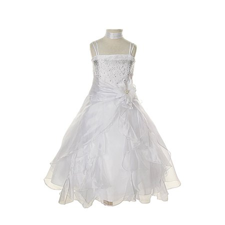 Dempsey Marie Baby & Girls Crystal Organza Rhinestone Party Pageant Special Occasion - Little Girls Gold Dress