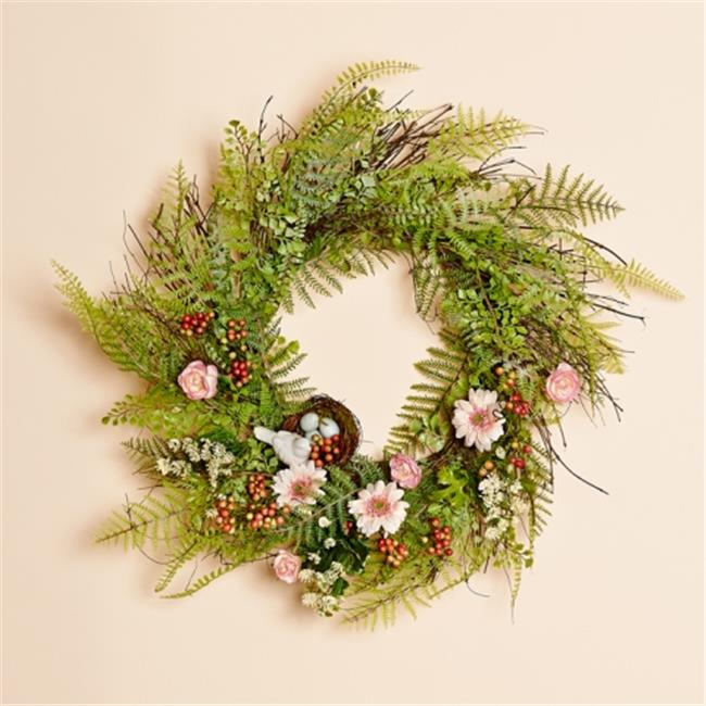 Harvest of Barnstable BMW20B 20 inch Mixed Fern Wreath With Ceramic Bird