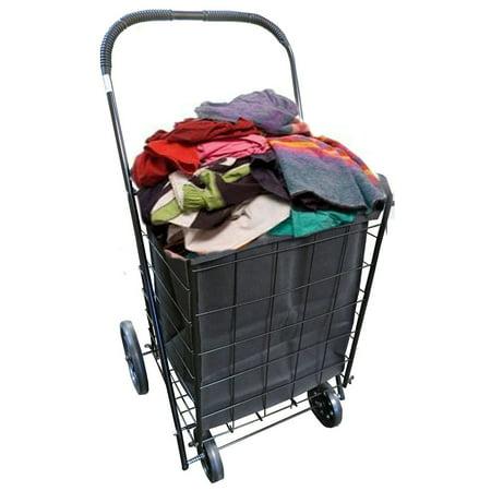 Extra Large Folding Shopping Cart Basket 4 Wheel Jumbo With Free Detachable Laundry Hamper For