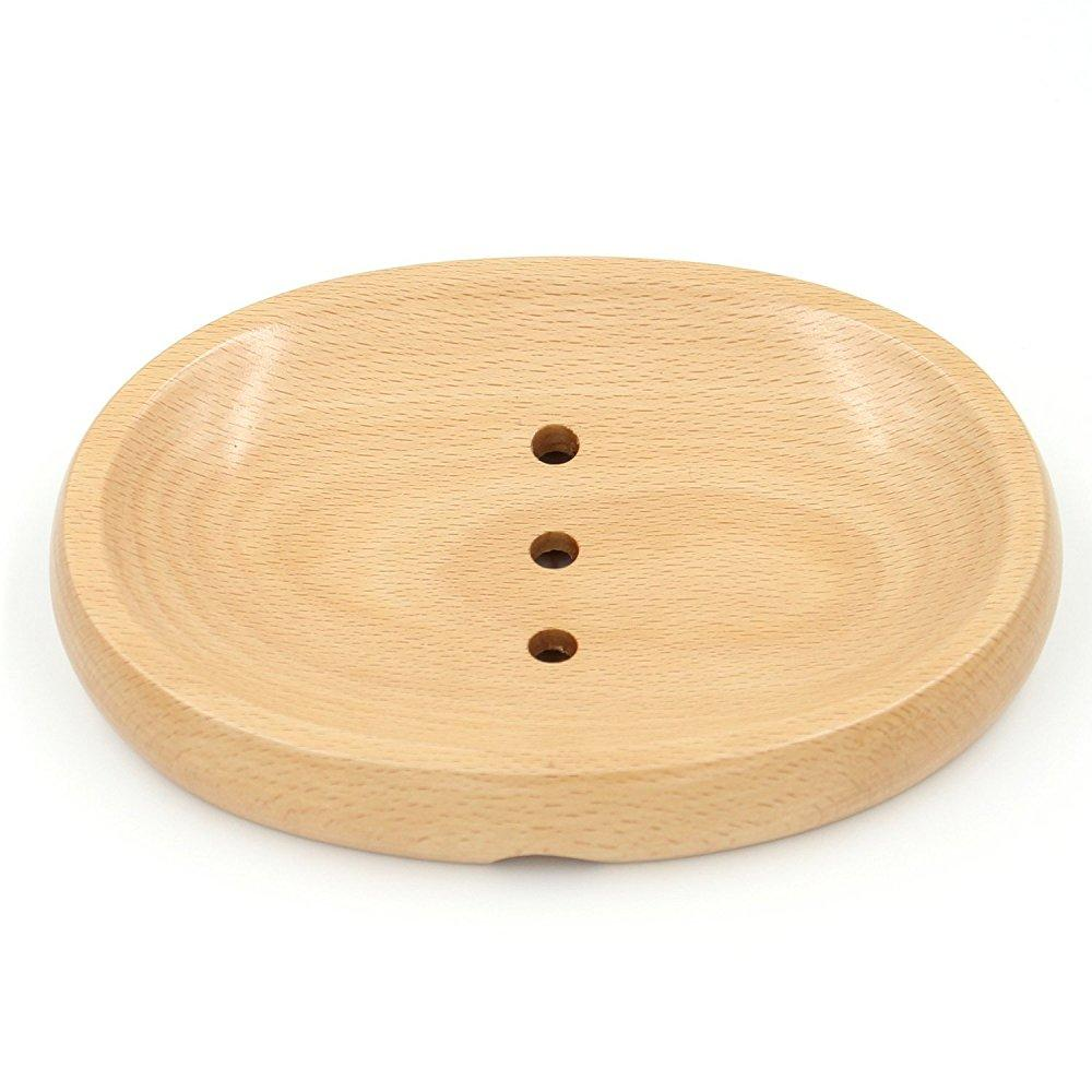 bamber wood soap dish for shower, soap holder saver, with drain, oval