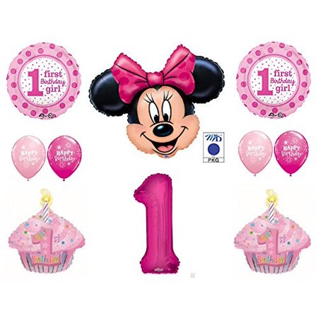 MINNIE MOUSE & Cupcakes 1st First BIRTHDAY PARTY Balloons Decorations Supplies for $<!---->