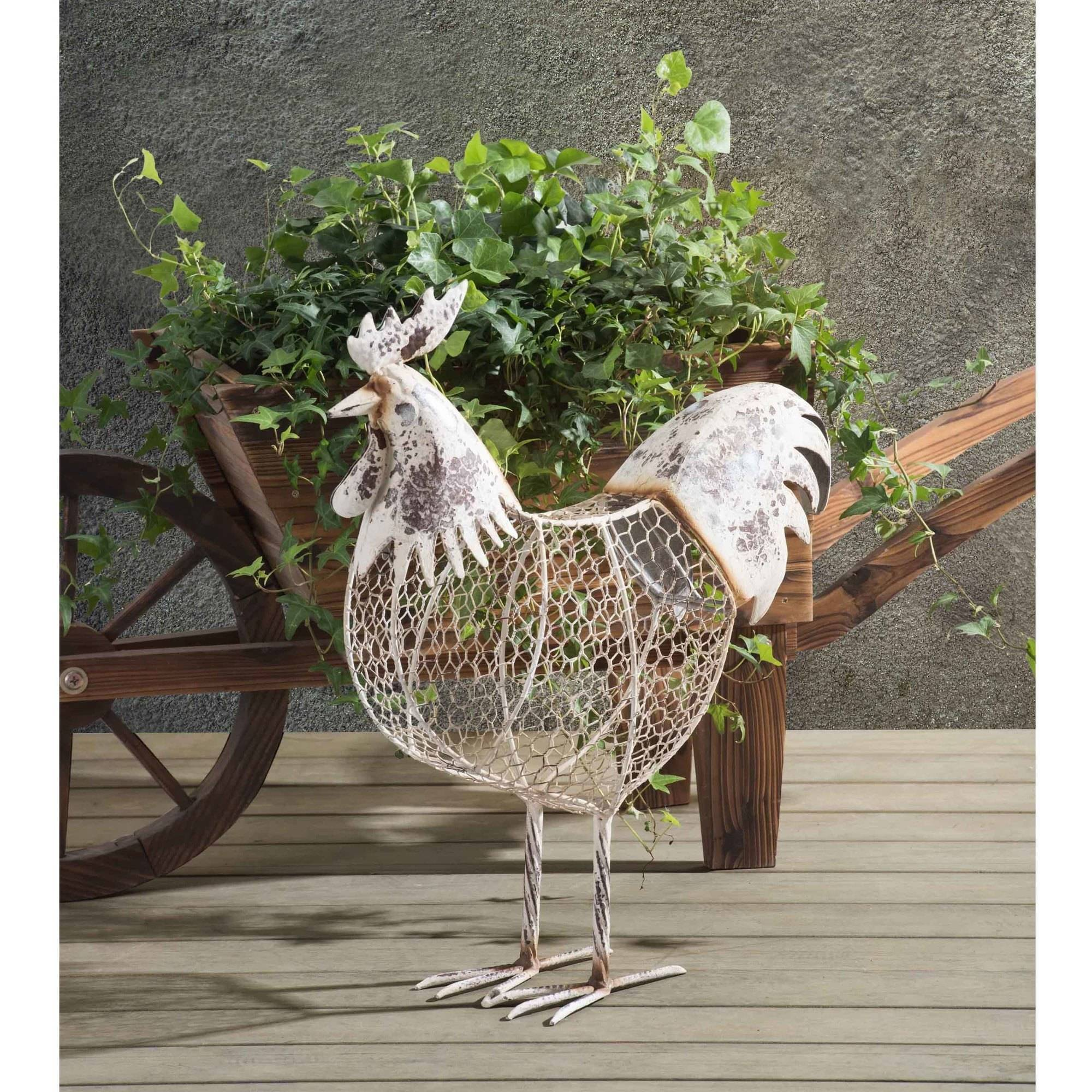Sunjoy 110301010 Rustic Chicken Wire Rooster Painted Metal Garden Sculpture, Antique White, 21""