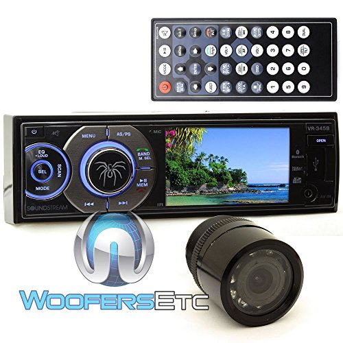 """pkg Soundstream VR-345B In-Dash 1-DIN 3.4"""" DVD Stereo Receiver + XO Vision HTC 36 Backup Camera with Nightvision"""