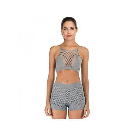 Topumt Women 2Pcs Grid Yoga Fitness Suit Running Sport Bra Vest +Shorts