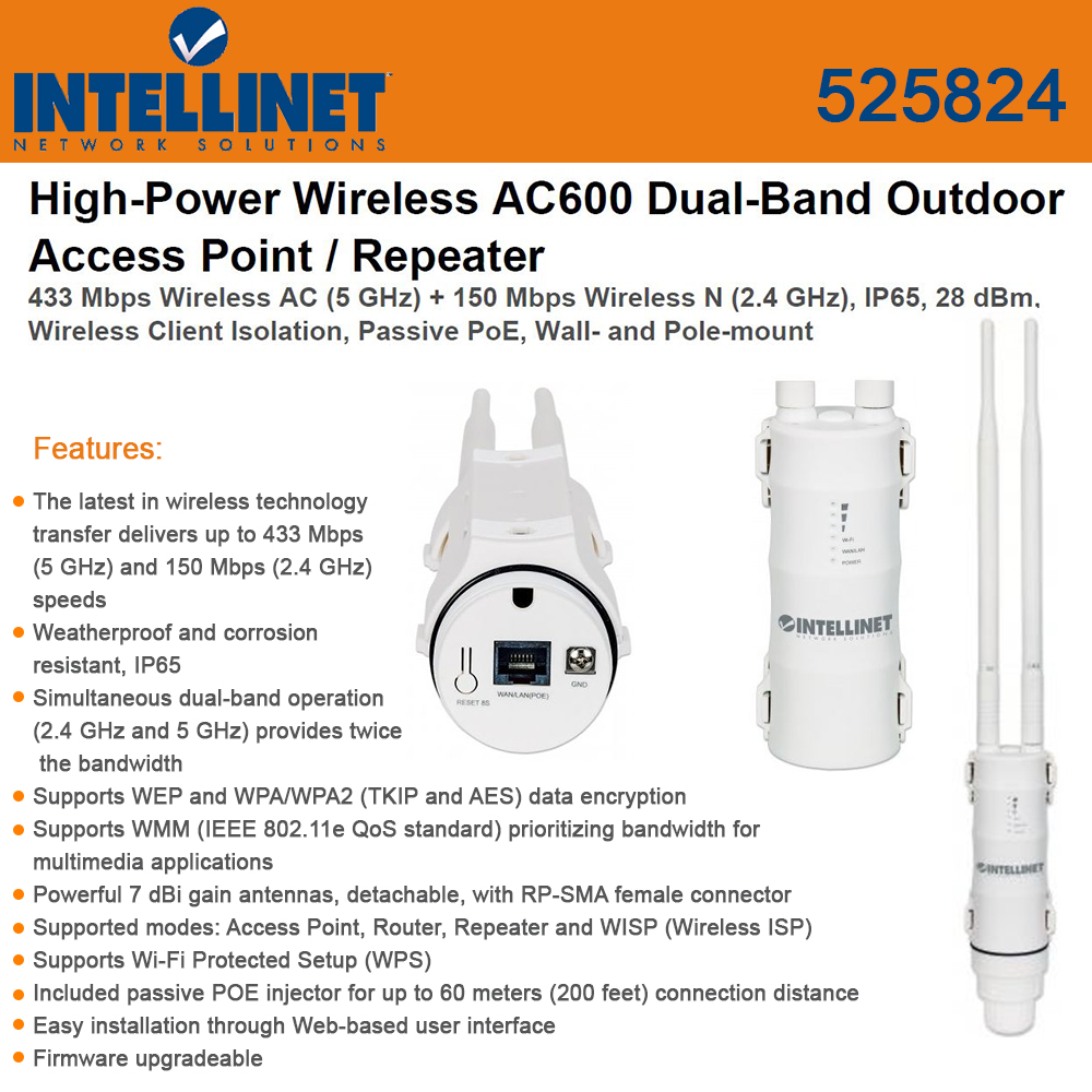 Intellinet Network 525824 High-Power Wireless Dual-Band O...