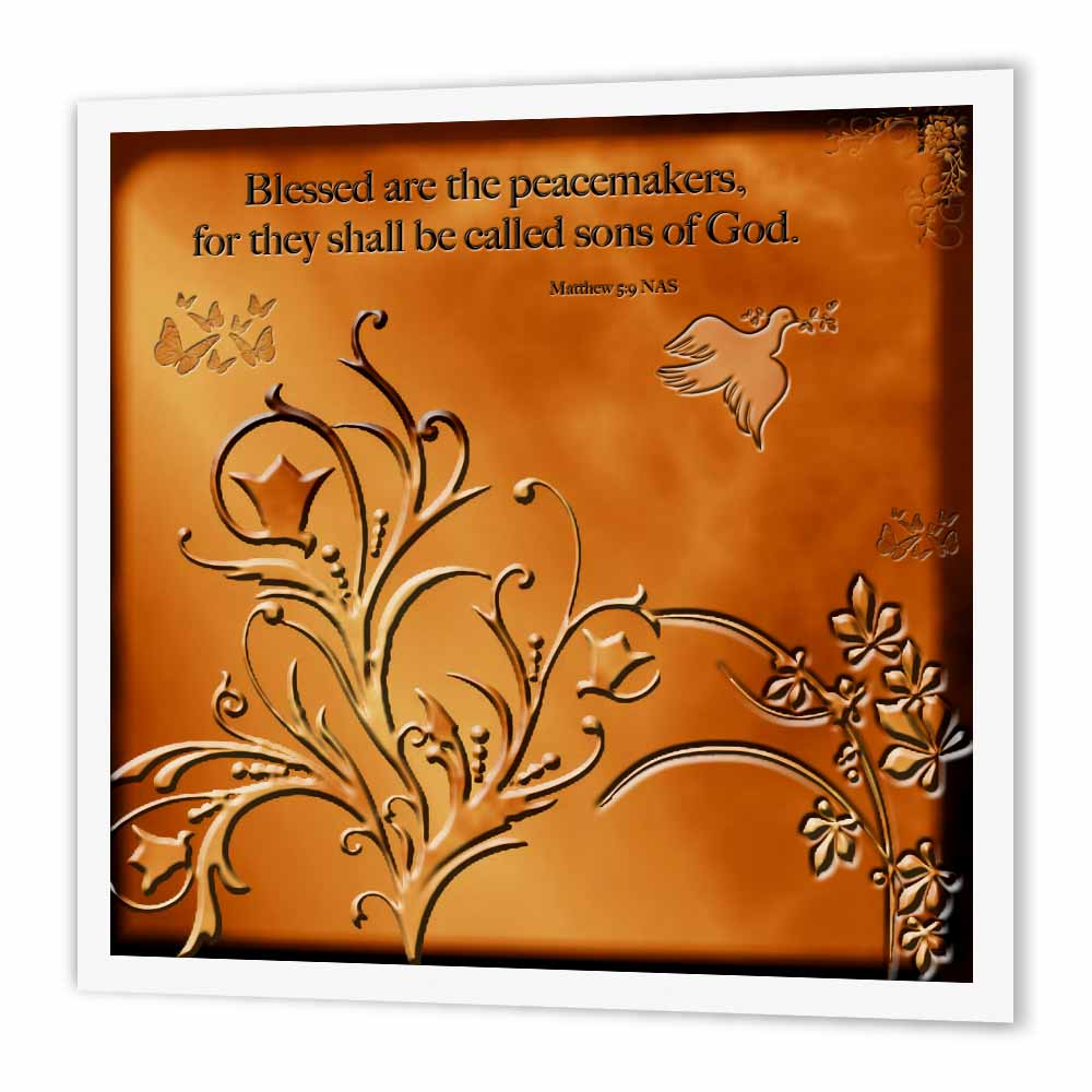 3dRose Blessed are the Peacemakers. Matthew 5 v9 Floral with dove and butterflies on Copper background, Iron On Heat Transfer, 8 by 8-inch, For White Material