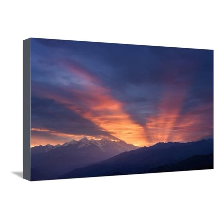 Mountain Landscape at Dawn. Beautiful Sky with Sunbeams and Clouds. View from Mount Mkheer. Zemo Sv Stretched Canvas Print Wall Art By