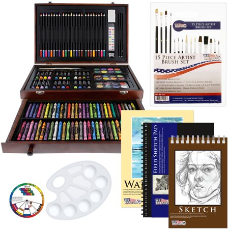 US Art Supply 162 Piece-Deluxe Mega Wood Box Art, Painting & Drawing Set contains all the supplies you need to - Halloween Face Painting Supplies
