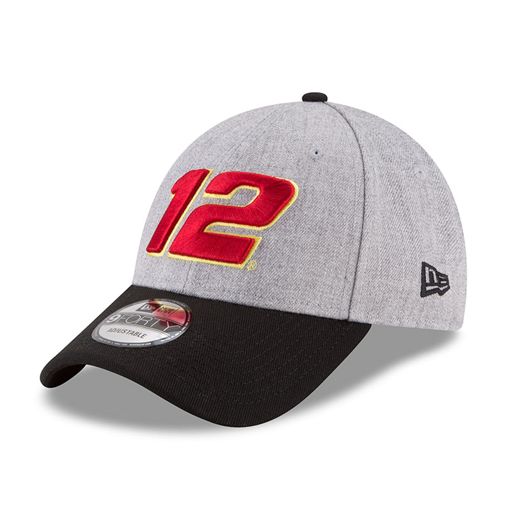 Ryan Blaney New Era Driver Number 9FORTY Snapback Adjustable Hat - Heather Gray/Black - OSFA