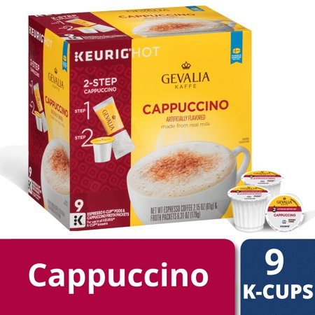 Gevalia Cappuccino K Cup Espresso Pods with Cappuccino Froth Packets, Caffeinated, 9 ct - 8.46 oz - Style Cappuccino Cups
