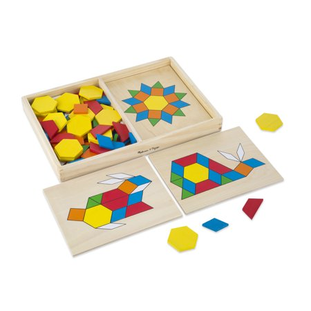 Melissa & Doug Pattern Blocks and Boards - Classic Toy With 120 Solid Wood Shapes and 5 Double-Sided - Word Blocks