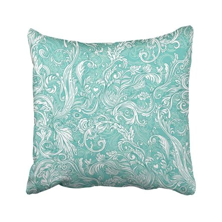ARTJIA Blue Victorian Vintage Brown Baroque Pattern Blue Damask Floral Turquoise Rococo Old Leafy Pillowcase Throw Pillow Cover Case 18x18 inches