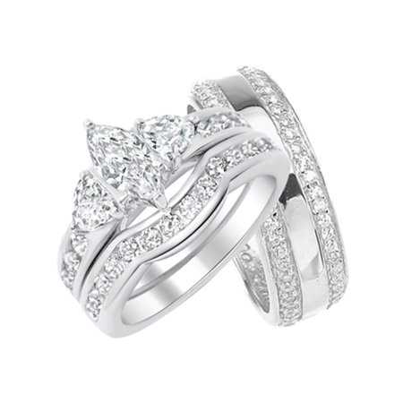 Laraso Co His And Hers Wedding Ring Set Matching Sterling