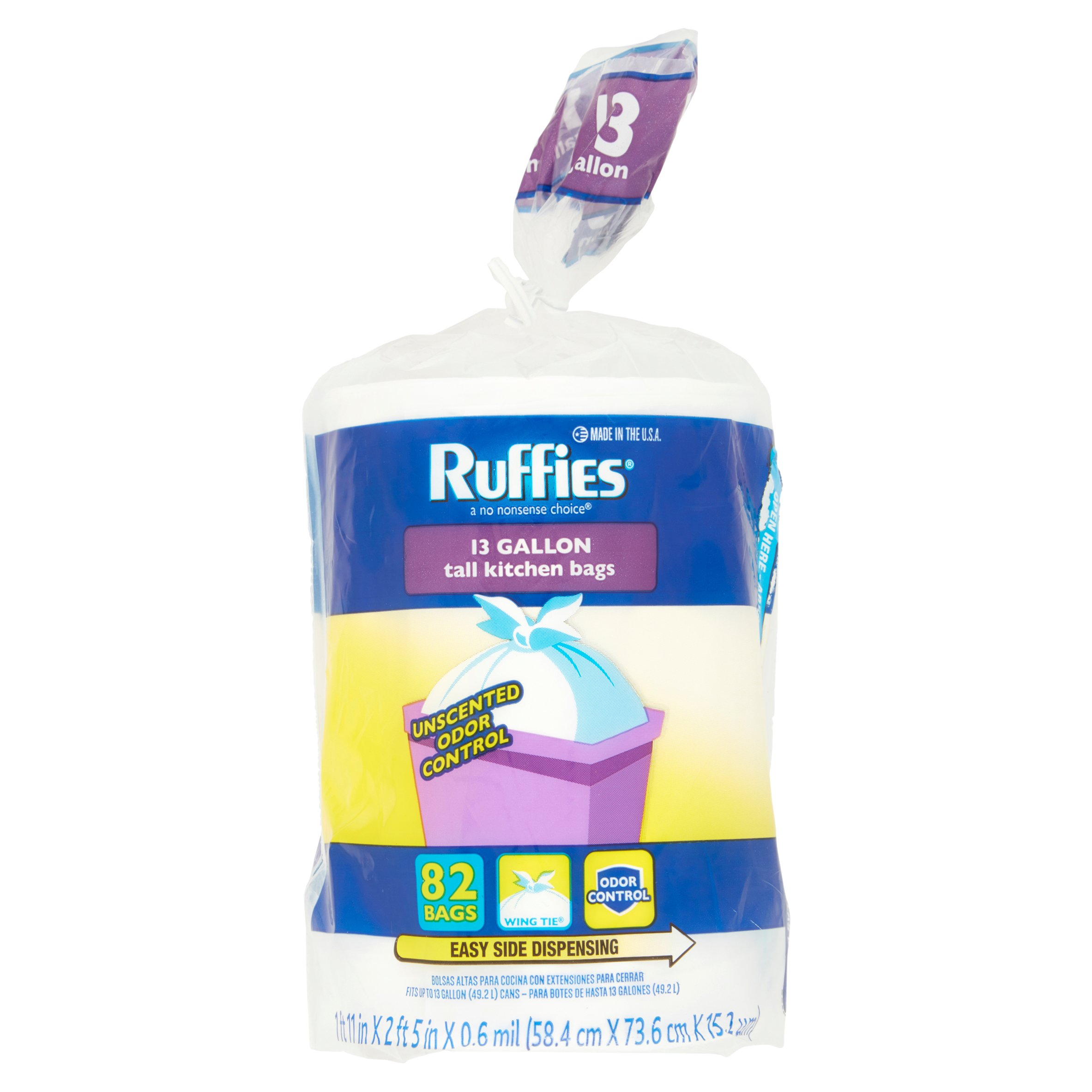 Ruffies Tall Kitchen Trash Bags, 13 Gallon, 82 Ct - Walmart.com
