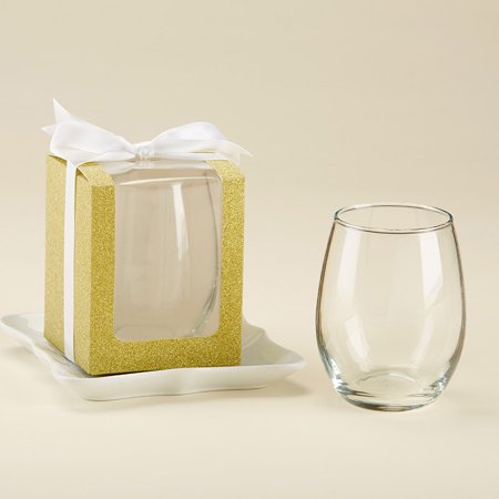 Kate Aspen Gold 9 oz. Glassware Gift Box (36 Boxes) - Wedding Favor or Party Favor Accessory for Bridal Showers, Baby Showers or Birthdays. Stemless Wine Glass Sold Seperately ()