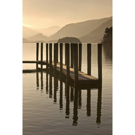 Wooden Dock In The Lake At Sunset Cumbria England Canvas Art - John Short  Design Pics (12 x
