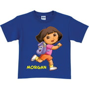 Personalized Dora the Explorer Running Girls T-Shirt, Royal Blue