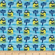 Despicable Me Minions 24306 B Blue Minion Beach Quilting Treasures 100% Cotton Fabric By The Yard