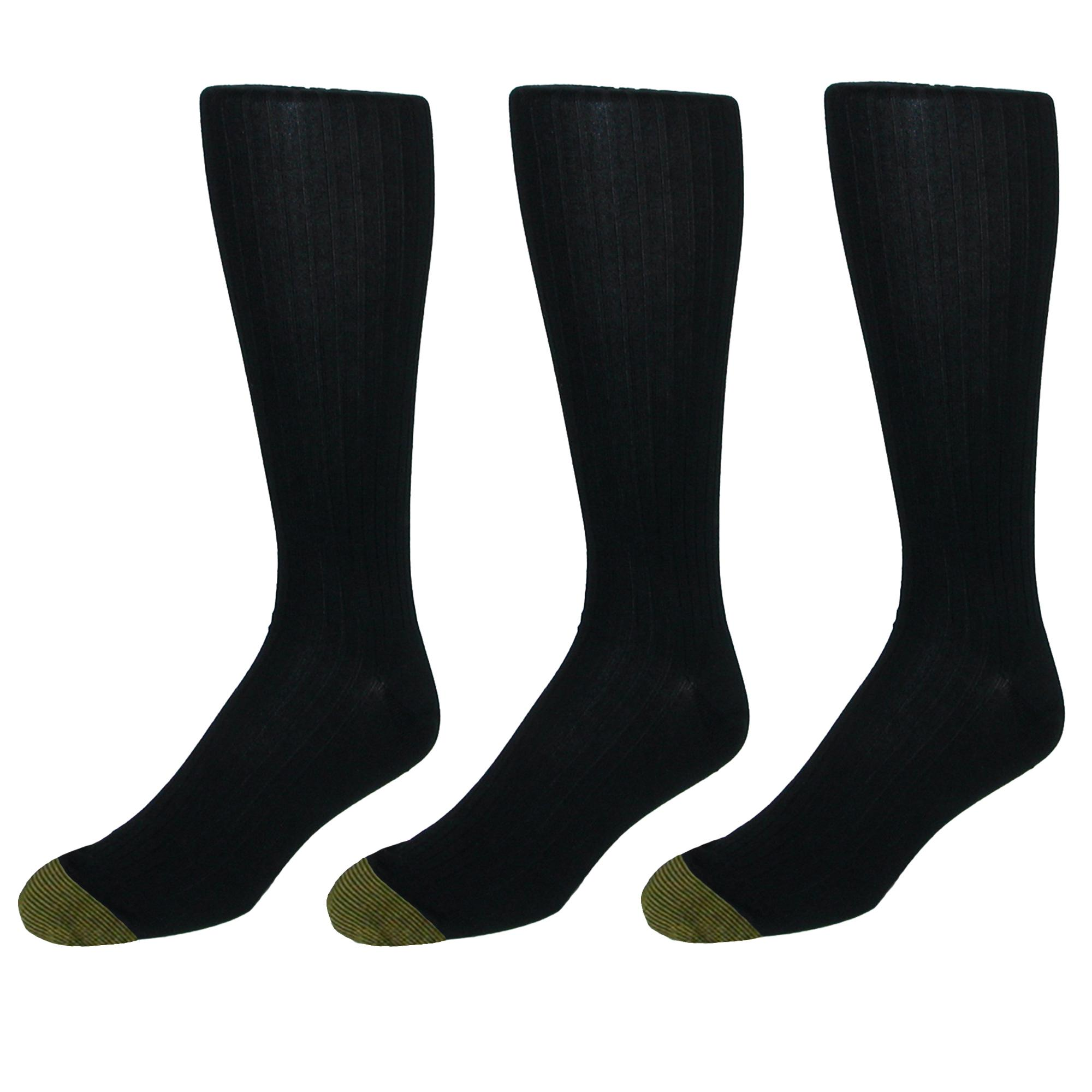 3 Pair Gold Toe Men/'s Premium Windsor Wool Over The Calf Dress Sock