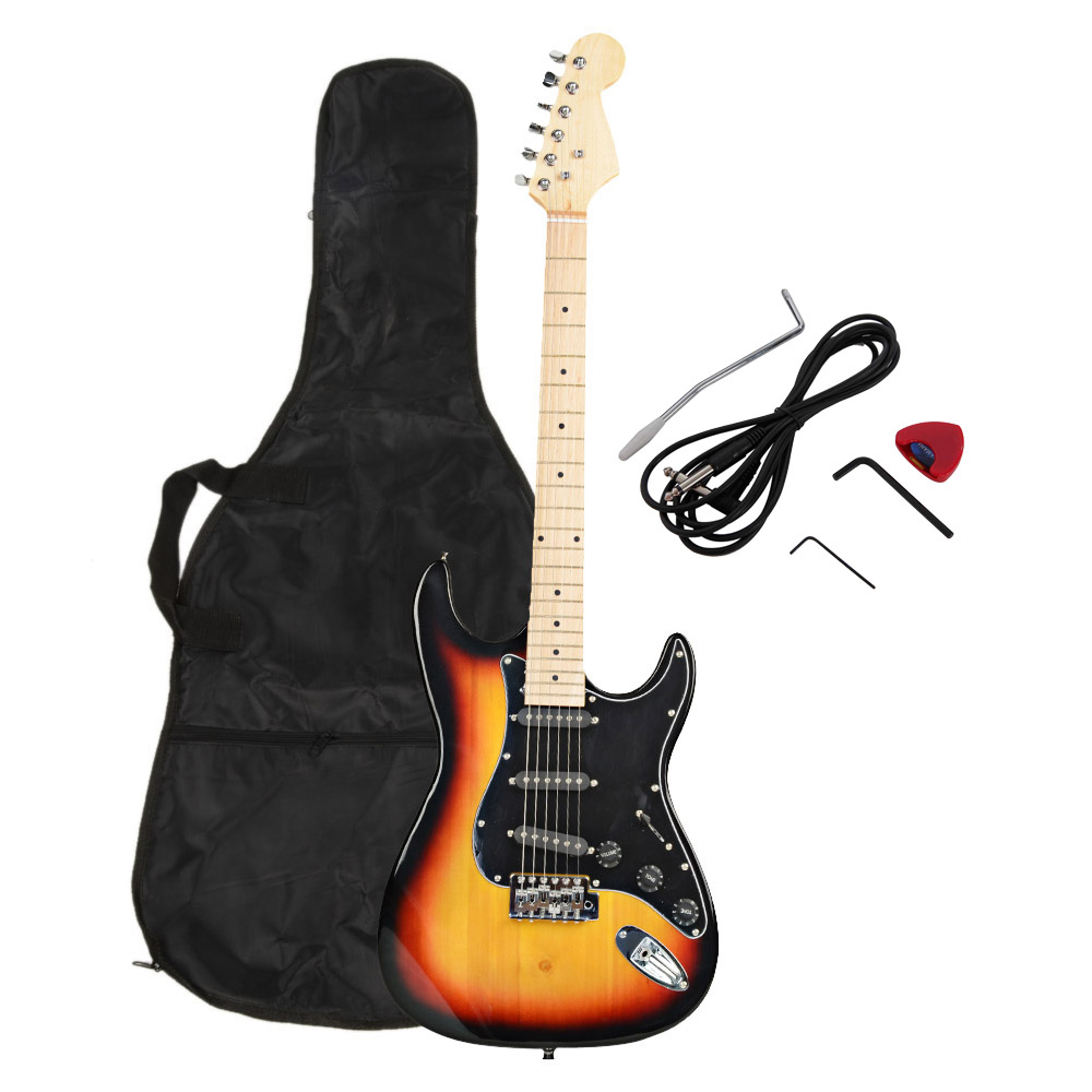 New 22 Frets ST Burning Fire Electric Guitar with Black Fender 15w AMP