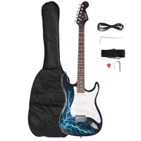 Glarry Full Size Rosewood Electric Guitar Set W/Bag,Shoulder Strap ,Pick,Whammy Bar ,Cord ,Wrench Tool Black