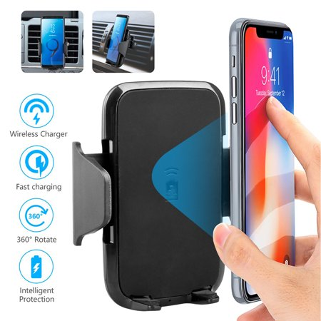 Car Air Vent Wireless Charger, Qi 360 Degree Rotation Mount Holder, Car Stand Cellphone Charging Mount  for Samsung Galaxy S10/S9/S8 Plus/S7/S6 Edge/Note9/8,iPhone (Best Phone Holders With Charging)