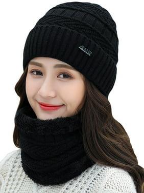 Womens Winter Fleece Knitted Ski Bomber Beanie Earflap Scarf Sets Caps Hats