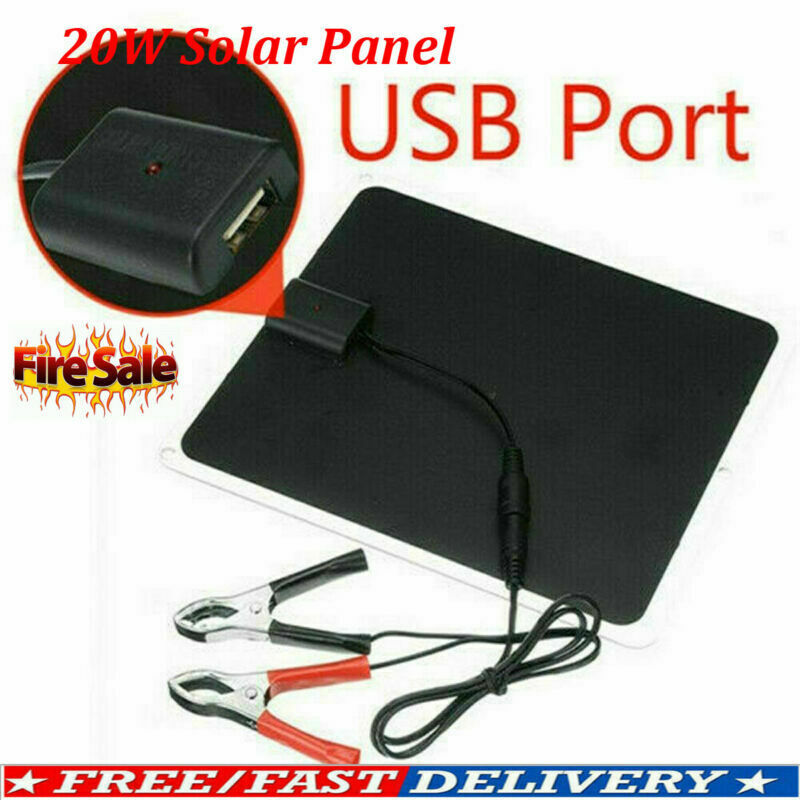 12V 20W Outdoor Car Boat Yacht Solar Panel Trickle Power Charger Supply 2020