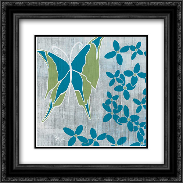 Butterfly and Flowers 2 2x Matted 20x20 Black Ornate Framed Art Print by Welsh, Shanni