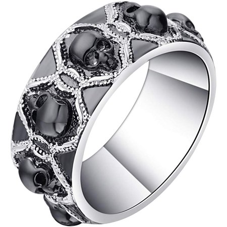Ginger Lyne Collection Skulls Black Punk Style 8mm Wedding Band Ring (10.5) Ladies Black Band