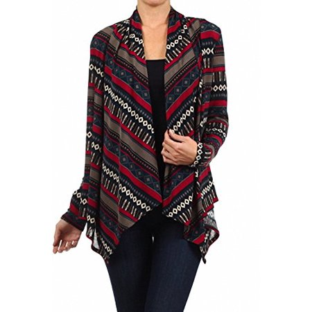 Apparel Fashion Clothing (Sassy Apparel Women's Soft and Comfortable Asymmetrical Fashion Cardigan Sweater (Large, Magenta Multi))