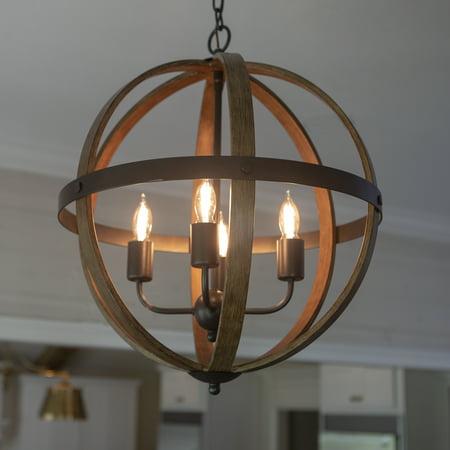 Mason Metal and Wood Four Light Orb Pendant