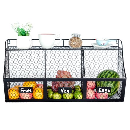 3 Compartment Metal Storage Basket Wall Mount Large Kitchen Hanging Iron Organizer Fresh Vegetable Produce Rack Heavy Duty Mounted Veggie Holder Chicken Wire Bin Black